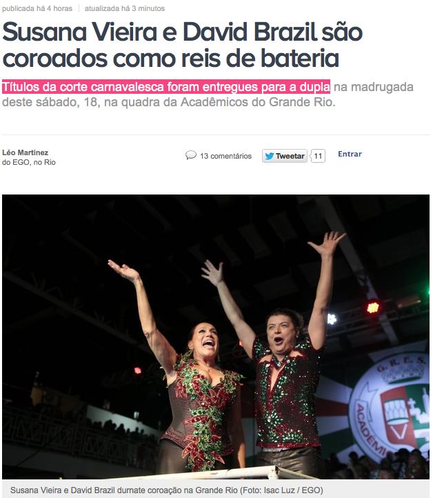 """Susana Vieira e David Brasil corados """"reis"""" de bateria pela Grande Rio"""