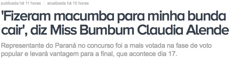 Miss Bumbum, Megan Fox, brasileira, macumba
