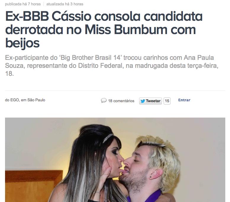 candidata derrotada do miss bumbum é consolada por ex bbb cássio