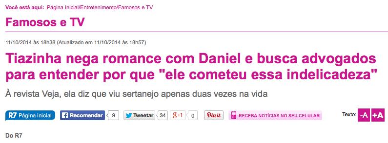 Tiazinha nega affair com cantor Daniel