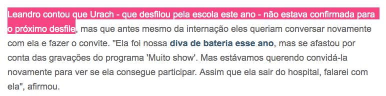 Leandro de Itaquera quer que Andressa Urach desfile no carnaval a qualquer custo.