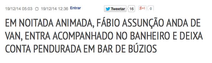 Fábio Assunção anda de van em buzios, transa no banheiro e pendura a conta